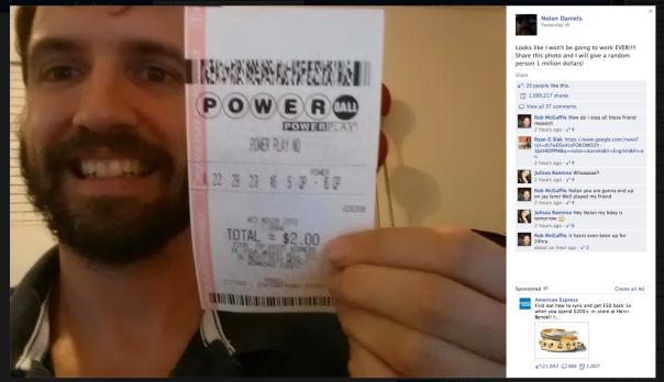 Lottery prank